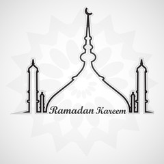 Beautiful card for ramadan kareem mosque and masjid vector