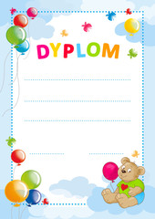 diploma for kids with balloons