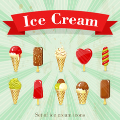 Set of retro ice cream icons