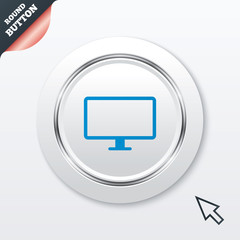 Computer widescreen monitor sign icon.