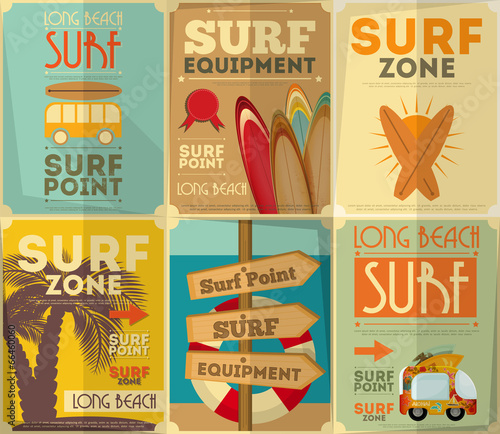 Fototapeta surfing posters collection