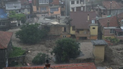 Rain inundation in Bulgaria, Varna. Tsunami flood.