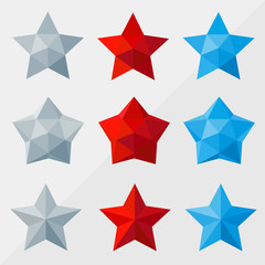 star set by triangles, polygon vector illustration
