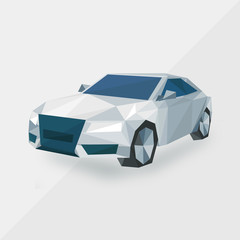 white sports car, by triangles, polygon vector illustration