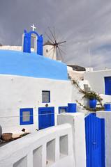 klassisches griechenland, blau und weiß