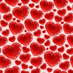 Red seamless pattern made of bright polygonal hearts