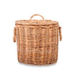 Wicker trash basket on white background