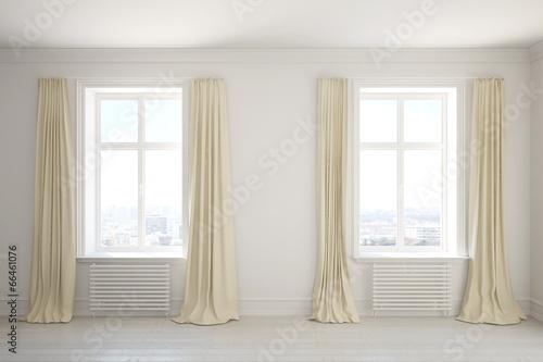 canvas print picture Leerer Raum mit Vorhängen am Fenster