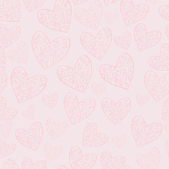 Seamless soft pink pattern with hearts