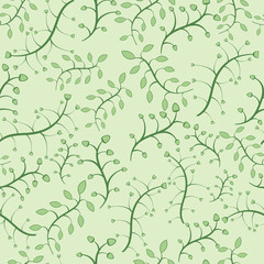 Stylish floral seamless pattern in green colors