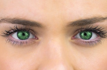 Bright green eyes on pretty female face
