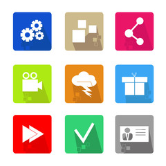 Set of square icons, modern style with shadow and pixel