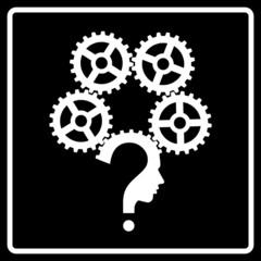 question mark human head gear symbol, vector