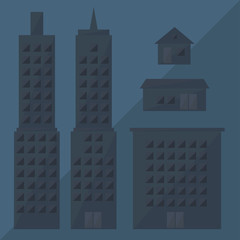 grey building icon, skyscraper by triangles, polygon