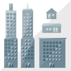 grey buildings icon, skyscrapers by triangles, polygon