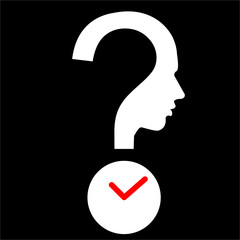 question mark human head with timer, DeadLine symbol, vector