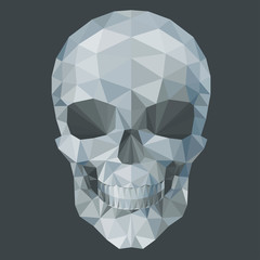 gray  skull by triangles, polygon vector illustration