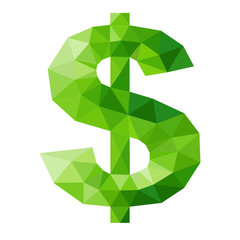 green dollar sign by triangles, polygon vector illustration