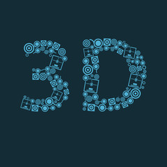 Vector blue 3d printer text icon on the dark background