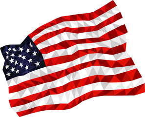 american flag by triangles, polygon vector illustration