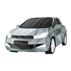 gray sports car, by triangles, polygon vector illustration