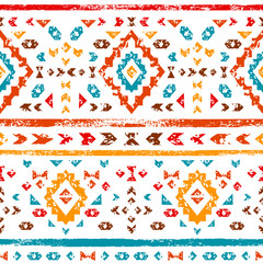 Colorful aztec ornaments geometric ethnic seamless pattern