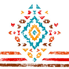 Colorful aztec ornament on white geometric ethnic illustration