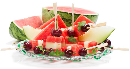 delicious fresh watermelon and melon salad with cherries and min