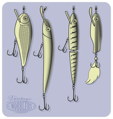 Fishing wobblers or artificial fishing lures