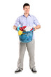 Man holding a basket full of laundry