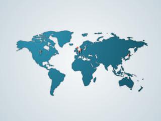 世界地図G5 - ブルー