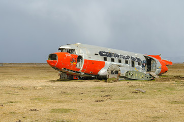 Wreck of a stranded airplane in northeast Iceland
