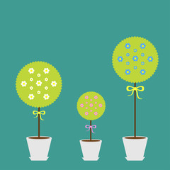 Tree set with flowers in the pot. Flat design.