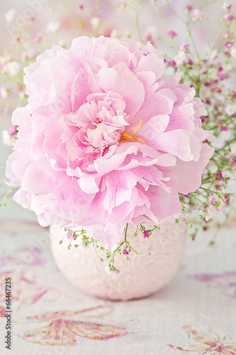 Plakat floral composition with a peony flower on a light background