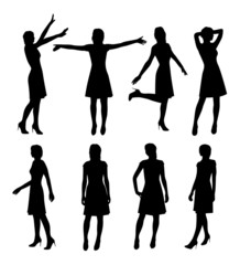 girl in skirt and heels silhouette vector