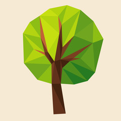 Green tree formed by triangles, polygon vector illustration