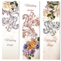 Collection of fashion wedding cards with flowers