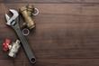 Leinwandbild Motiv adjustable wrench and pipes