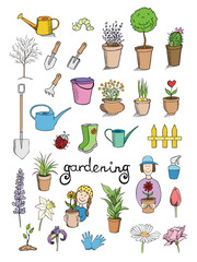 gardening color icons vector collection
