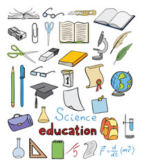 science and education color icons vector collection