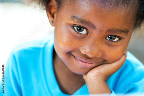 Extreme close up portrait of african kid.