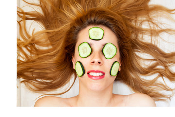Skin care with cucumber slices