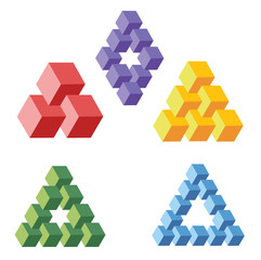 unreal geometrical symbols frome cubes, vector