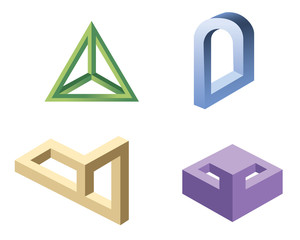 unreal geometrical shapes symbols, vector