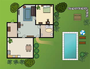 country house scheme with furniture, garden, vector