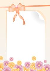 greeting card with bow, pink and yellow flowers vector