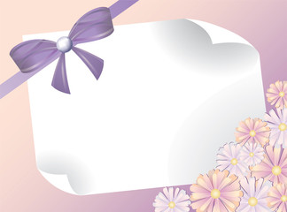 greeting card with bow and pink flowers, horizontal, vector