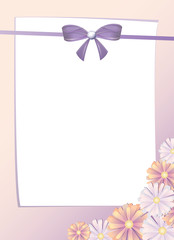 greeting card with bow and pink flowers, vertical, vector