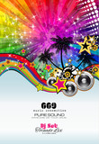 Fototapety PArty Club Flyer for Music event with Explosion of colors