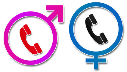 Male Female Sign With Phone